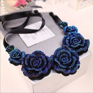 Jewelry - 3D Resin Rose Necklace With Ribbon Tie